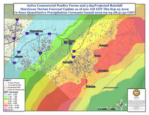 Weather map showing 3-day forecast for projected rainfall over North Carolina from Hurricane Dorian