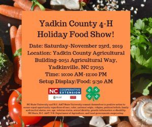 Cover photo for Yadkin County 4-H Holiday Food Show 2019