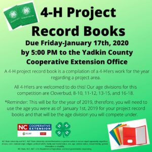 Cover photo for 4-H Project Record Books Are Due January 17, 2020!!
