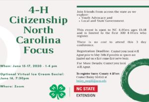 Cover photo for Register for 4-H Citizenship North Carolina Focus